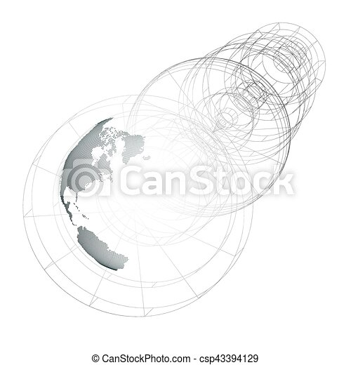 Dotted world globe, isolated abstract construction, connecting lines on white background. Vector design, structure, shape, form, orbit, space station. Scientific research. Science, technology concept. - csp43394129