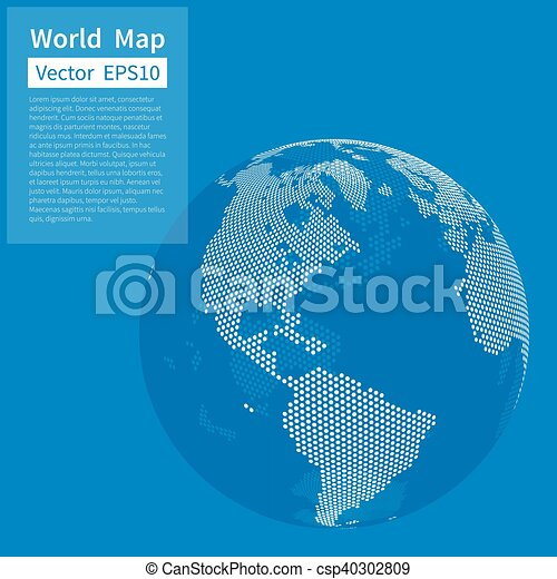 Dotted World Map Background Earth Globe Globalization Concept