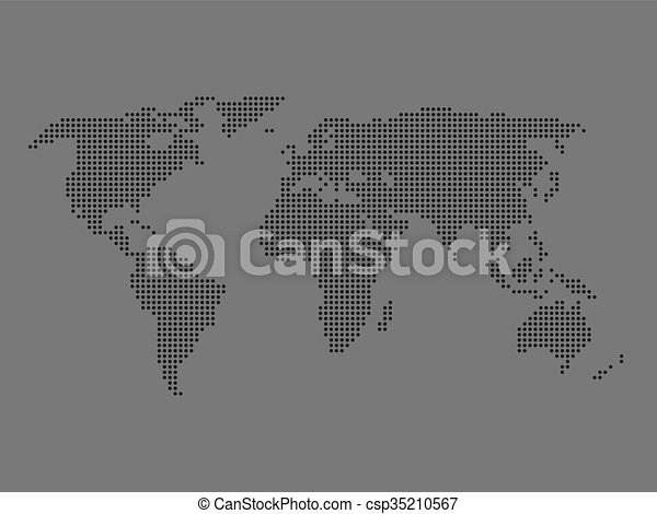 Dotted world map dark grey map on grey background vector clip dotted world map vector gumiabroncs Images