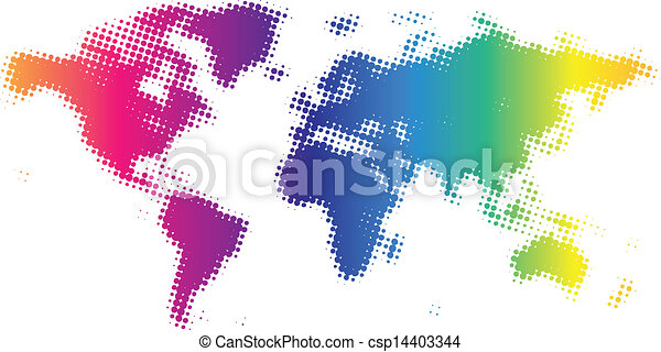 Multicolored dotted world map vector illustration eps vector dotted world map csp14403344 gumiabroncs Gallery