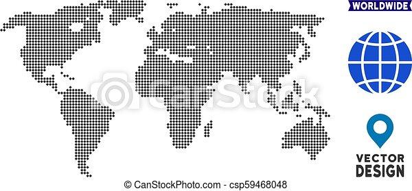 Dot World Map.Dotted World Map Dot World Map Vector Territory Plan In Dark Gray