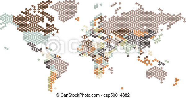 Dotted world map of hexagonal dots on white background vector dotted world map of hexagonal dots csp50014882 gumiabroncs Gallery