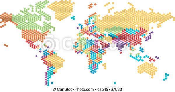 Dotted world map of hexagonal dots on white background vectors dotted world map of hexagonal dots csp49767838 gumiabroncs Image collections