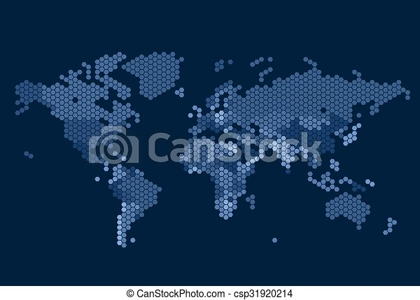Dotted world map of hexagonal dots on dark background dotted world map of hexagonal dots csp31920214 gumiabroncs Images