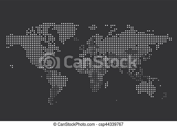 Dotted world map of square dots on dark background vector clip dotted world map of square dots vector gumiabroncs Choice Image