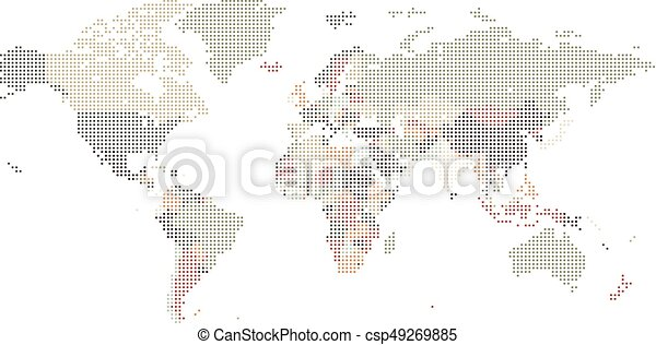 Dotted world map of square dots on white background vector dotted world map of square dots csp49269885 gumiabroncs Choice Image