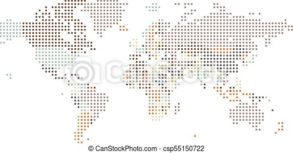 Dotted world map of square dots on white background vector dotted world map of square dots csp55150722 gumiabroncs Images