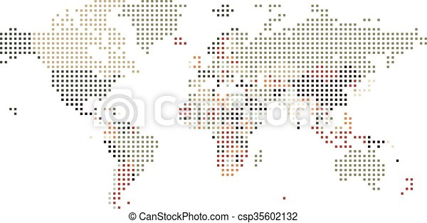 Dotted world map of square dots on white background vectors dotted world map of square dots on white background csp35602132 gumiabroncs Images