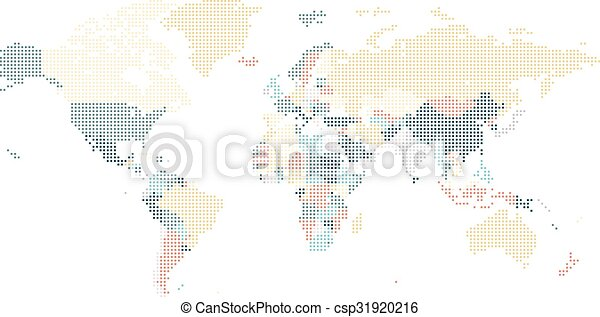 Dotted world map of square dots on white background vector clip art dotted world map of square dots csp31920216 gumiabroncs Choice Image