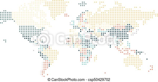 Dotted world map of square dots on white background. vector ...