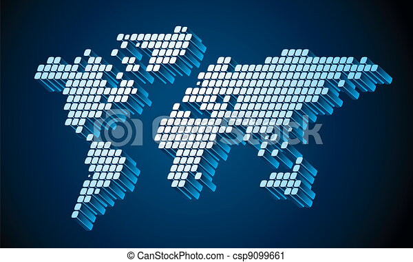 Dotted world map dotted square pixel world map vector vector dotted world map csp9099661 gumiabroncs Image collections