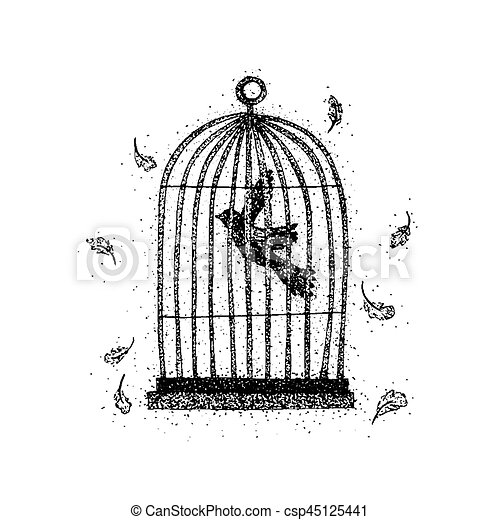 dotwork bird in a cage vector illustration with feathers tattoo