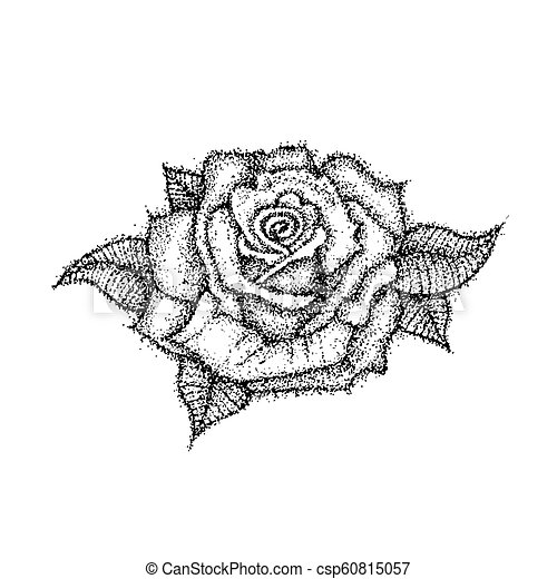 Dotwork Fleur Rose