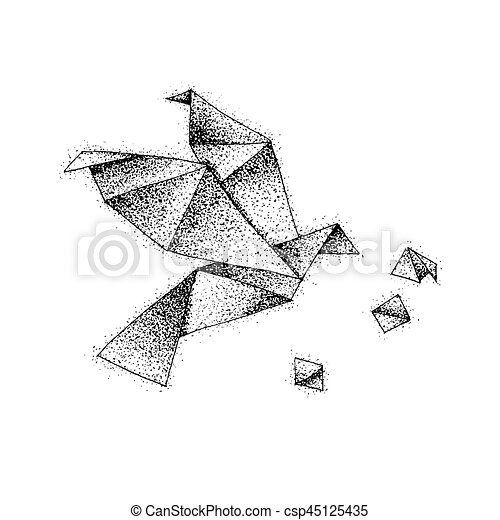 dotwork oiseau origami bird tatouage vecteur sketch illustration flight dotwork. Black Bedroom Furniture Sets. Home Design Ideas