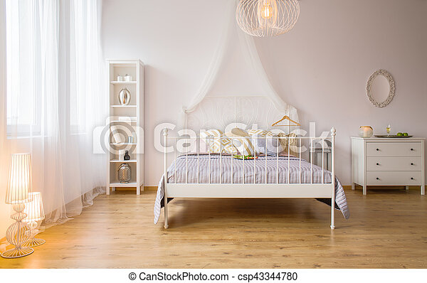 Double Bed And Decorative Lighting Bedroom With Double Bed Decorative Lighting And White Furniture