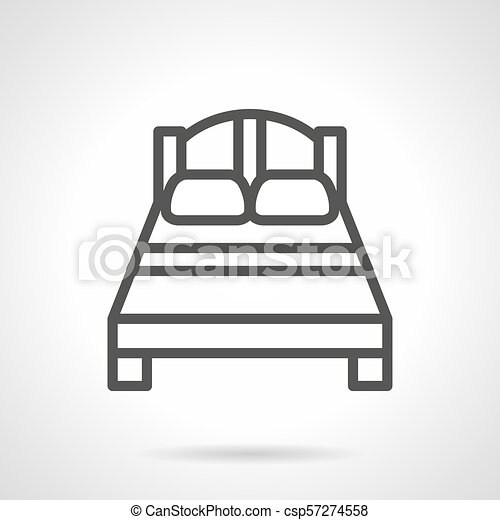Double Bed Black Simple Line Vector Icon Symbol Of Empty Double Bed