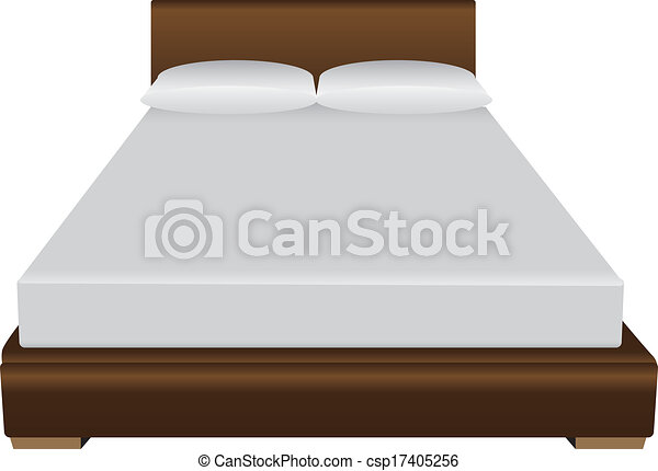 Clipart Vector of Double bed - Contemporary double bed ...