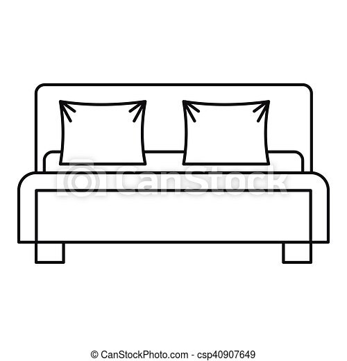 double bed icon outline style double bed icon outline rh canstockphoto com