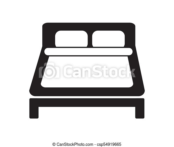 Double Bed Icon Simple Black And White Vector Hotel Sign Apartment Sleeping Concept