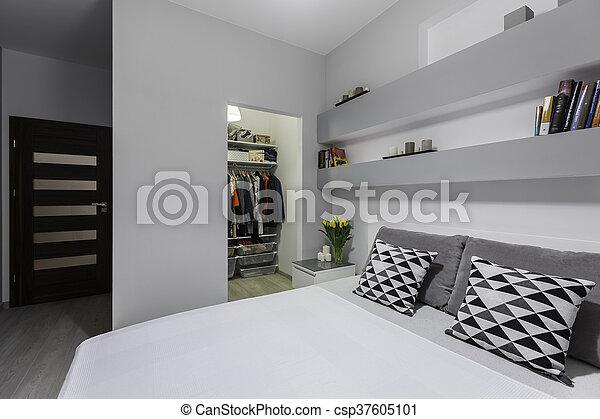 Double bed in bedroom - csp37605101