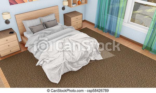 double bed top view. Double Bed In Modern Bedroom Interior Top View - Csp58426789