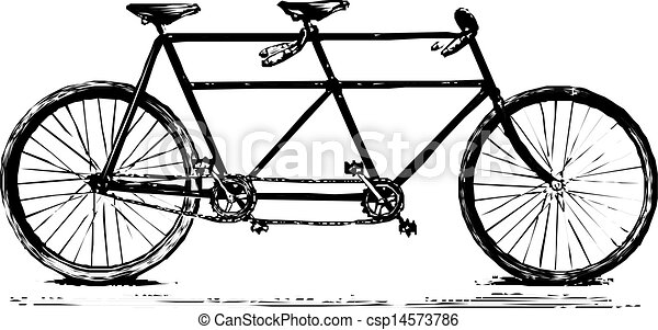 double bicyclette, retro, accordé - csp14573786