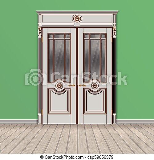 Double Blanc Porte Entree Entree Porte Classique Double Illustration Vecteur Ferme Blanc Canstock