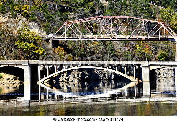 Double Bridges Over Bull Shoals Lake - csp79811474