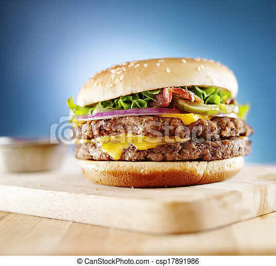 double cheese burger with bacon - csp17891986