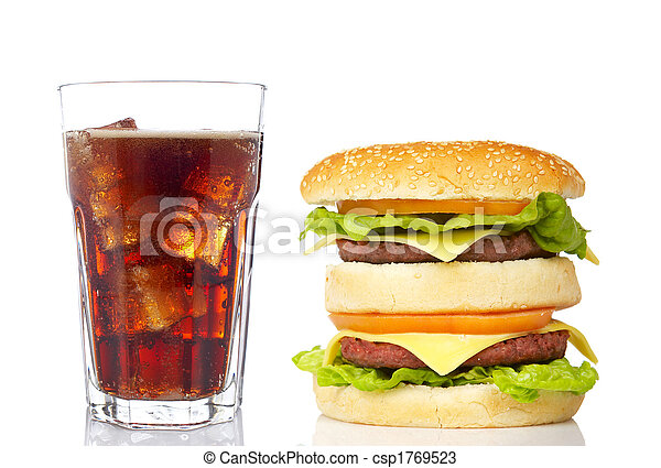 Double cheeseburger and soda glass - csp1769523