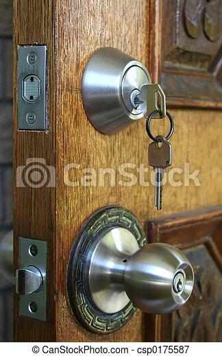 Double Deadlock Door - csp0175587 & Double deadlock door. Double deadlocked wooden door for security.