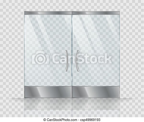 Double Door Clear Glass Vector Realistic Picture Isolate On