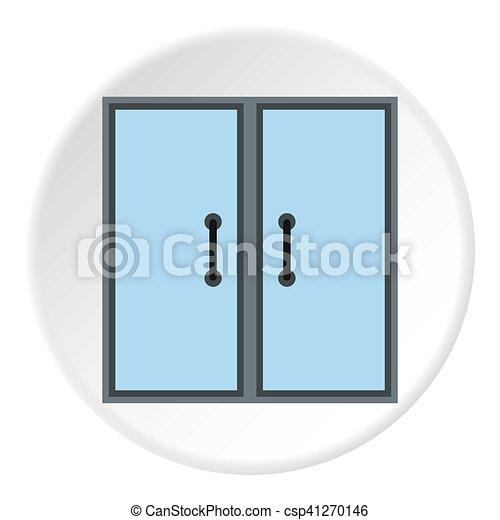 Double Door Icon Flat Style Double Door Icon Flat Illustration Of