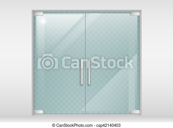 Double Doors Of Glass Double Glass Doors To The Shopping Center Or