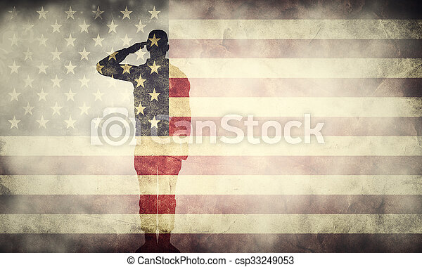 Double exposure of saluting soldier on USA grunge flag. Patriotic design - csp33249053