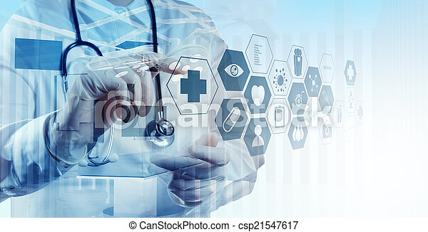 Double exposure of smart medical doctor working with operating r - csp21547617