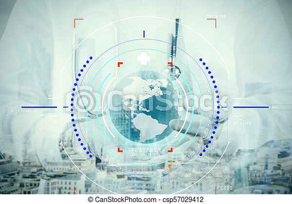 double exposure of smart medical doctor hand showing network with globe as medical network and media concept - csp57029412