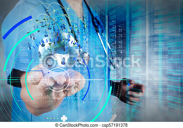 Double exposure of smart medical doctor holding the world with network diagram as concept - csp57191378