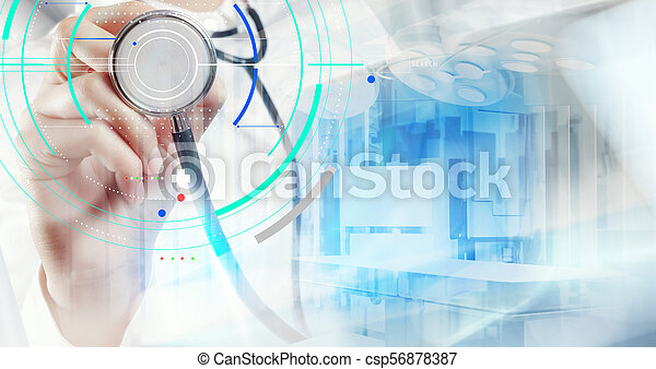 Double exposure of smart medical doctor working with operating room as concept - csp56878387