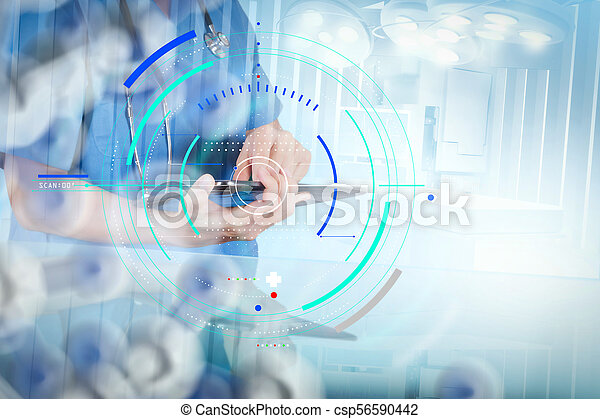 Double exposure of smart medical doctor working with operating room as concept - csp56590442