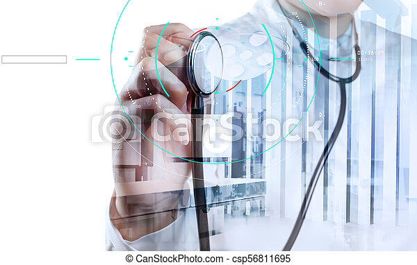 Double exposure of smart medical doctor working with operating room as concept - csp56811695