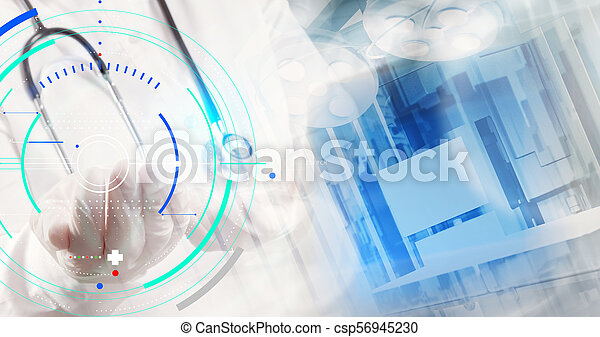 Double exposure of smart medical doctor working with operating room as concept - csp56945230