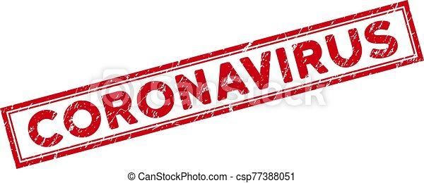 Double Framed Grunge Coronavirus Rectangular Stamp Seal - csp77388051