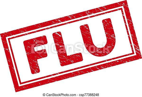 Double Framed Grunge Flu Rectangle Stamp - csp77388248