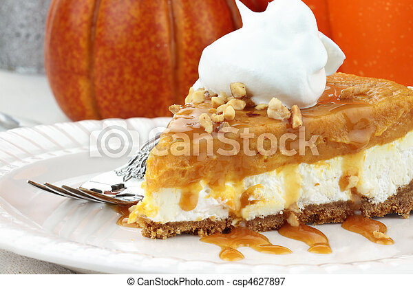 Double Layer No Bake Pumpkin Pie - csp4627897