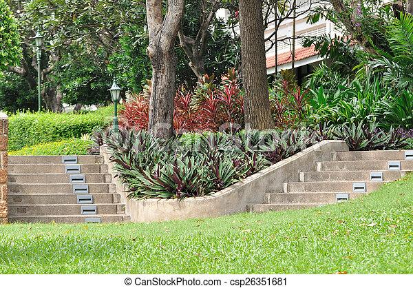 Double, pierre, escalier, jardin.