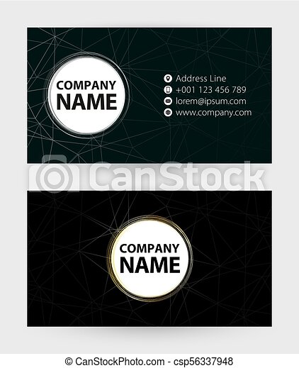 Double sided black business card template 9x5 cm size vector template reheart Choice Image