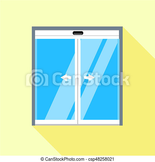 Glass Doors Clipart clip art of double sliding glass doors icon, flat style - double