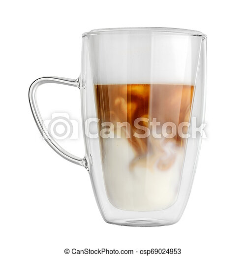 Double Wall Mug With Latte Coffee Isolated Transparent Double Wall Glass Mug With Latte Coffee Isolated On White Background Canstock