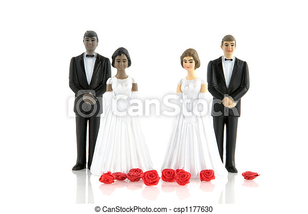 Double wedding with black and white couple stock photography double wedding stock photo junglespirit Choice Image